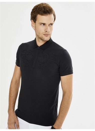 Xint XINT Polo Yaka Nakışlı Modal Slim Fit Tişört Siyah